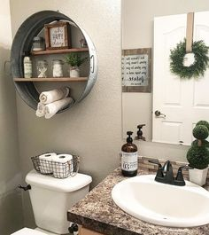 Amazing DIY Bathroom Ideas, Bathroom Decor, Bathroom Remodel and Bathroom Projects to aid inspire your master bathroom dreams and goals. Diy Bathroom, Rustic Bathroom Decor, Bathroom Design Small, Budget Bathroom, Bathroom Shelves, Bathroom Styling, Bathroom Storage, Bathroom Interior, Bathroom Ideas