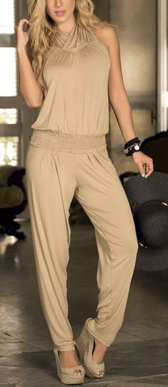 Mocha Open-Back Halter Jumpsuit