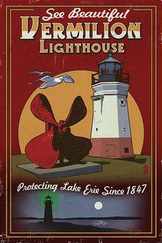 Ohio - Vermilion Lighthouse - Vintage Sign - Lantern Press Poster