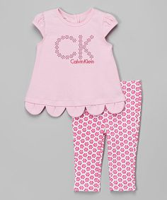 Look at this #zulilyfind! Pink Logo Scalloped Top & Daisy Leggings - Infant by Calvin Klein Jeans #zulilyfinds