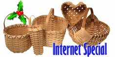 "Internet Special Basket Weaving Kit weaves 5 baskets for just $39.45. Comes with everything you need including step-by-step, fully illustrated 8.5x11"" booklet. Click here for more info."