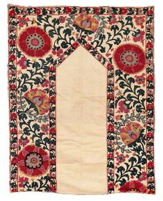 "Antique Shakhrisyabz Suzani, Central Asia, Uzbekistan, 133 x 103 cm, second half 19th century. A small-format nim Suzani of the ""..."