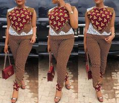 African print blouse and pants set / African print pencil fit pants / African clothing / Ankara dress / African dress / African dresses Latest African Fashion Dresses, African Print Dresses, African Print Fashion, Africa Fashion, African Dress, Ankara Fashion, African Prints, African Jumpsuit, African Attire
