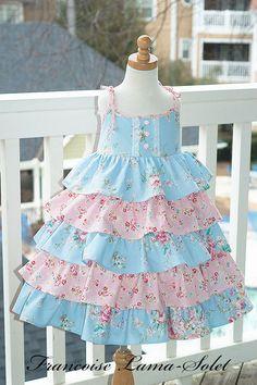 27916349ef Items similar to Girl dress Easter birthday flower girl wedding pageant  custom ruffled twirl dress size 2T to 12 yrs - Grace on Etsy