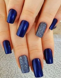 Attractive & Unique Nail Trends To Wear Now Nagellack Blue Nail Designs, Fall Nail Designs, Unique Nail Designs, Fancy Nails Designs, Nail Polish Designs, Cowboy Nails, Dark Blue Nails, Blue And Silver Nails, Blue Gel Nails