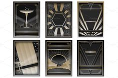Art Deco Backgrounds and Frames by Wing's Art and Design on Creative Market