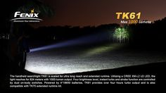The Fenix TK61 is scaled for extended operation in challenging conditions with max 1000 lumens output. Utilizing a single CREE XM-L2 U2 LED, the TK61 employs dual on-body switches for rapid shifting between four brightness levels and two flashing modes with runtime well beyond 4hrs on Turbo. The 824m throw reaches deep while an extended runtime kit stays the course whether the TK61 is handheld, shoulder-strap carried or vehicle-mounted.Features·Uses Cree XM-L2 LED with a lifespan of 50000…