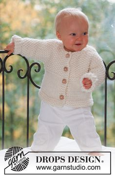 Miss Mossy Jacket - Knitted jacket with seamless sleeves for baby and children in DROPS Eskimo - Free pattern by DROPS Design Baby Knitting Patterns, Baby Cardigan Knitting Pattern Free, Baby Patterns, Crochet Patterns, Easy Knitting Projects, Knitting For Kids, Free Knitting, Drops Design, Drops Baby