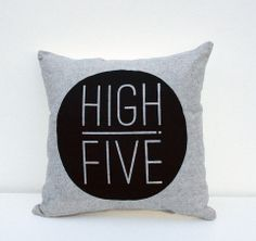 High Five - organic hand printed pillow by Earth Cadets Living Room Cushions, High Five, Pillow Talk, Hearth, Screen Printing, Blankets, Home Goods, Organic, Throw Pillows