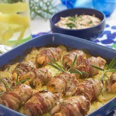 Baconlindade kycklingrullader med morotstsatsiki - Recept från Mitt kök - Mitt Kök | Recept | Mat | Vin | Öl