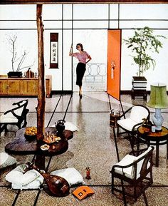 Living Room (1957)  LOVE the buffet/credenza, the japanese-inspired lines, the simplicity of the furnishings.