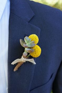 Craspedia  Succulent Boutonniere - Rustic Wedding Flowers  Yellow  Green  Burlap