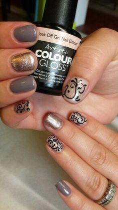 Filigree gel polish nails #artisticcolourgloss #ArtisticNailDesign