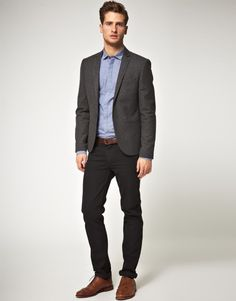 Shop this look for $233:  http://lookastic.com/men/looks/brogues-and-chinos-and-dress-shirt-and-belt-and-blazer/353  — Brown Leather Brogues  — Black Chinos  — Blue Dress Shirt  — Brown Leather Belt  — Charcoal Blazer