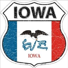 HS-123 Iowa State Flag Highway Shield Aluminum Metal Sign