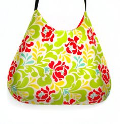 Romantic green and  floral shoulder bag by GabardineCouture, 78.00