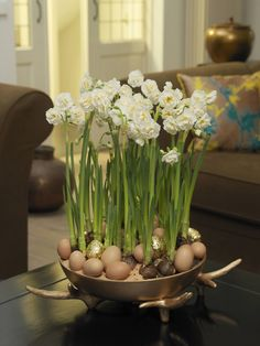 Beautiful blend of forced bulbs and Easter eggs!  Lovely!