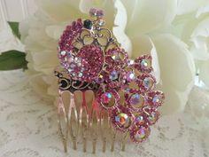 PINK PEACOCK Vintage Style Hair Comb Bridal by ASplendidThing