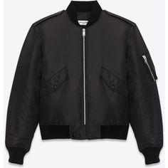 Saint Laurent Classic Bomber Jacket ($2,290) ❤ liked on Polyvore featuring outerwear, jackets, coats & jackets, saint laurent, tops, bomber style jacket, zip bomber jacket, blouson jacket, flight jacket and yves saint laurent