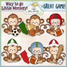 Monkey Business Sports 1 - NE Cheryl Seslar Clip Art : Digi Web Studio, Clip Art, Printable Crafts & Digital Scrapbooking!