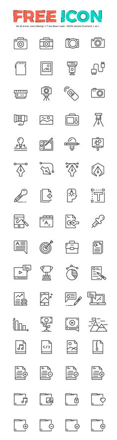 64 Free Outline Icons. If you like UX, design, or design thinking, check out theuxblog.com