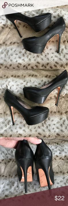 Sam Edelman Nyland peeptoe platform stiletto heels Sexy black platform spike heels by Sam Edelman. Good used condition, some wear, but nothing major. Size 8. Sam Edelman Shoes Heels