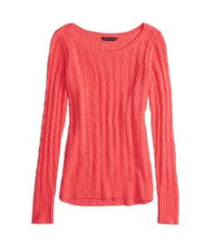 Neon Runner Pink AEO Factory Cable Knit Sweater