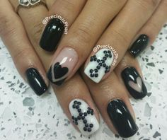 Cross, hearts, black and white nails