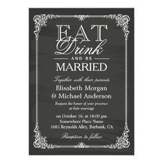 EAT Drink and Be Married Vintage Chalkboard Frame
