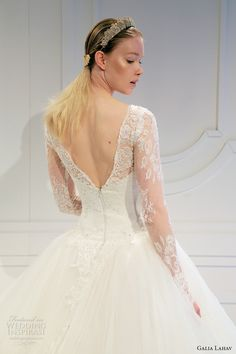 galia lahav spring 2017 bridal lace long sleeves illusion bateau sweetheart neckline lace bodice tulle princess ball gown a  line wedding dress v back (015) zbv