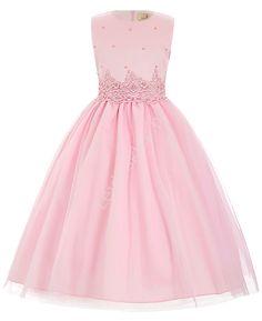 Jasnoróżowa sukienka z perełkami dla dziewczynki | sukienki z perełkami dla…
