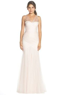 Monique Lhuillier Bridesmaids Illusion Yoke Pleat Tulle Trumpet Gown (Nordstrom Exclusive) available at #Nordstrom