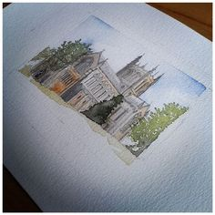 Cathedral Commission - Watercolour Painting - Illustration by DesignCottageUK