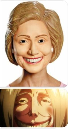 this is the hillary clinton mask..oh god I thought this titan looked familiar when I rewatched aot earlier!!!