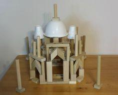 Recreate the Taj Mahal from kids wooden building blocks. Find simple step by step instructions at http://backtoblocks.com/blog/backtoblocks_blog_building_with_blocks_taj_mahal/