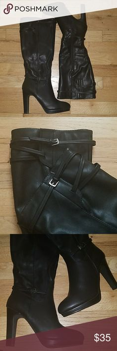 "NWOT Diba Knee High Black Dress Boots 4"" Heel NEVER WORN  Side Zipper Cute boot accents (See pics) Faux leather Diba Shoes Heeled Boots"