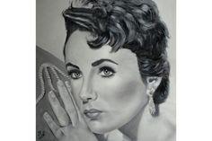 Portrait à l'huile noir et blanc Elizabeth Taylor