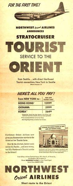 Vintage Northwest Orient Airlines Ad - 1953
