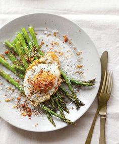 Williams-Sonoma  Recipe of the Day: Rest a fried egg with a soft yolk atop any roasted vegetable and it's delicious. The yolk flows easily over the base, becoming a simple, luscious sauce!    Fried Eggs with Asparagus, Pancetta & Bread Crumbs