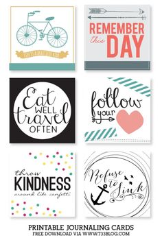 Free Printable Journaling Cards - Collection 3 - seven thirty three Format oder Printable Quotes, Printable Stickers, Printable Cards, Printable Planner, Free Printables, Journal Stickers, Journal Cards, Planner Stickers, Scrapbook Journal