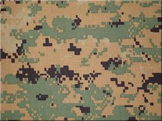 Pixelated Camo Cotton Canvas This is a heavy weight stiff cotton twill with an army fatigue print.