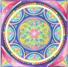 Мандала Изобилия Pastel Art, Pastel Colors, Rainbow Colors, Sacred Geometry Art, Sacred Art, Zentangle, Spiritual Life, Numerology, Mandala Art