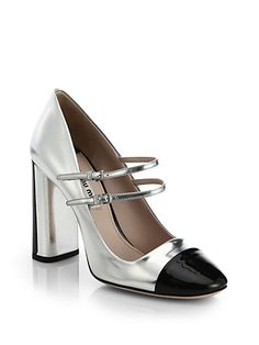 Two-Tone Metallic Leather Mary Jane Pumps