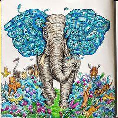 Imagimorphia #imagimorphia #kerbyrosanes #fabercastell #coloringforadults #animorphia #sztukakolorowania #kolorowankadladoroslych #creativelycoloring #relax #arttherapy #color #colorindolivrostop #bayan_boyan #boracolorirtop #elefant