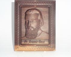 Religious gift Saint Arsenie Boca religious icon Wood carving, black walnut wood , home decor Religious Icons, Religious Gifts, Teak Oil, Wood Structure, All Icon, Wood Carvings, Walnut Wood, Out Of Style, Bookends