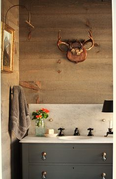 Small Guest Bath ... maybe gray cabinet and use gray in color scheme to Guest Room.  Use same counter on both Bathrooms ... stain one and paint the other cabinets.  Of course, we would have a mirror and not antlers :)