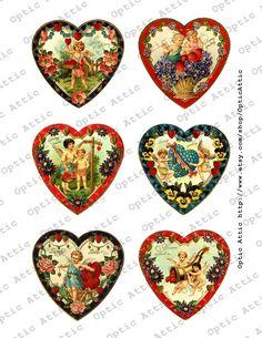 Victorian Valentine Hearts 3 x 3 Inch Digital Collage Sheet Instant Download OpticAttic 268