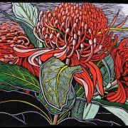 Gail Kellett   LINOCUT      Just Waratahs