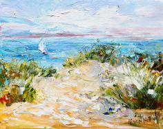 Original oil painting Beach Dunes Sailing modern palette knife by Karensfineart
