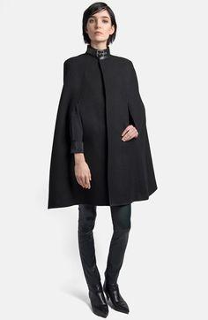 { saint laurent leather collar wool blend cape }